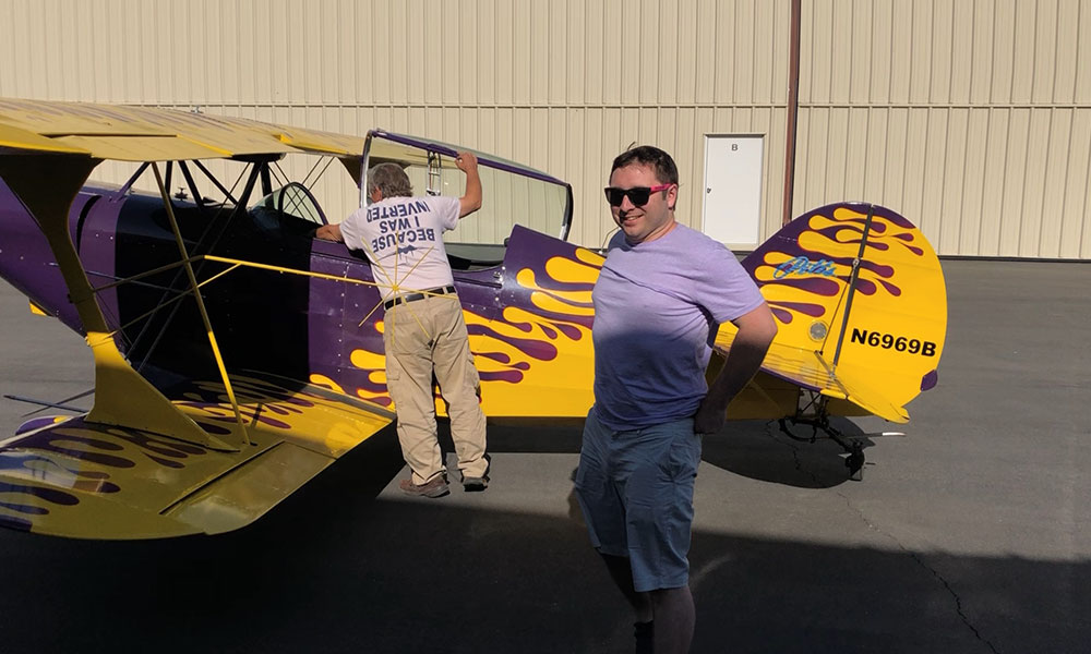 Ashton Clemens getting Aerobatic Duel in my old S2-A Pitts from my good friend, Dennis Brown, from Redlands CA.