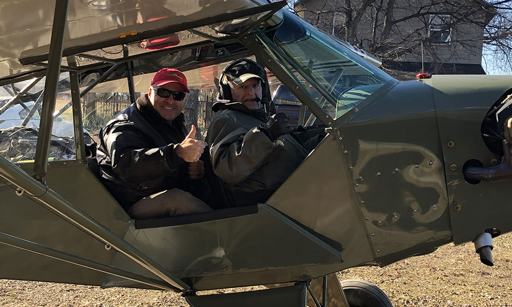 Jim & Jerry Clemens in the Piper J-3 Cub