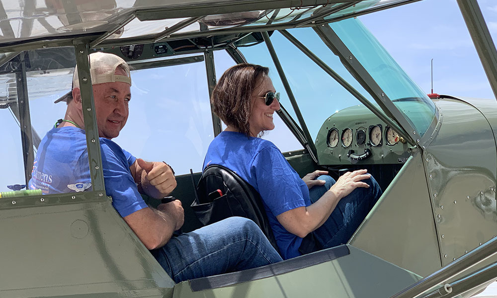 AQP Instructor, Dan Gryder, giving Deanna Daugherty a ride in the Cub. 2020 ACCA Event in Benton KS.