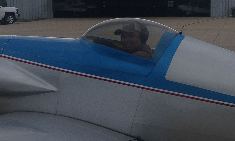 Jerry flying his dad's Midget Mustang